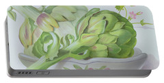 Artichokes Portable Battery Charger by Lizzie Riches