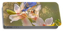 Bluebird On Orchids Artistic Photo Portable Battery Charger by Luana K Perez