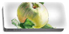Portable Battery Charger featuring the painting Artz Vitamins Series A Happy Green Apple by Irina Sztukowski