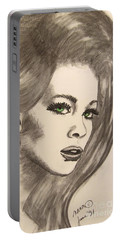 Portable Battery Charger featuring the drawing Ashton by Marianne NANA Betts