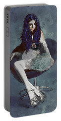 Portable Battery Charger featuring the digital art Ask Alice by Galen Valle
