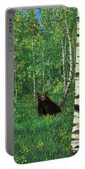 Portable Battery Charger featuring the painting Aspen Bear Nursery by Stanza Widen