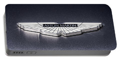 Portable Battery Charger featuring the digital art Aston Martin Badge by Douglas Pittman