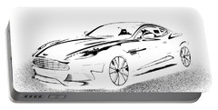 Portable Battery Charger featuring the digital art Aston Martin by Rogerio Mariani