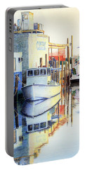 Portable Battery Charger featuring the painting At Cortez Docks by Roger Rockefeller