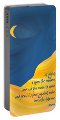 At Night With Rumi And The Moon Portable Battery Charger