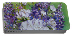 Portable Battery Charger featuring the painting At Peg's Request by Judith Rhue