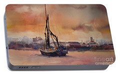 Portable Battery Charger featuring the painting At Rest On The Thames London by Beatrice Cloake