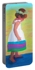 Portable Battery Charger featuring the painting At The Beach by Deborah Boyd