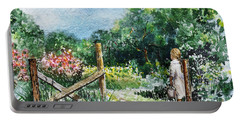 Portable Battery Charger featuring the painting At The Gate Summer Landscape by Irina Sztukowski