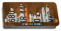 Atlanta Georgia City Skyline Vintage License Plate Art On Wood Portable Battery Charger