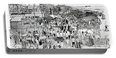 Portable Battery Charger featuring the drawing Atlantic City Boardwalk 1890 by Ira Shander