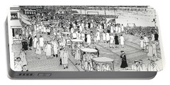 Portable Battery Charger featuring the drawing Atlantic City Boardwalk 1940 by Ira Shander