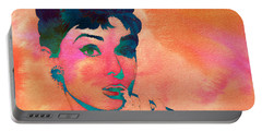 Portable Battery Charger featuring the painting Audrey Hepburn 1 by Brian Reaves