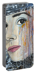 Audrey Hepburn-abstract Portable Battery Charger by Ismeta Gruenwald