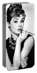 Audrey Hepburn Artwork Portable Battery Charger by Sheraz A