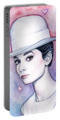 Audrey Hepburn Fashion Watercolor Portable Battery Charger