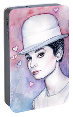 Audrey Hepburn Fashion Watercolor Portable Battery Charger by Olga Shvartsur