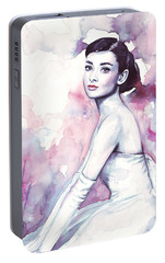 Audrey Hepburn Purple Watercolor Portrait Portable Battery Charger by Olga Shvartsur