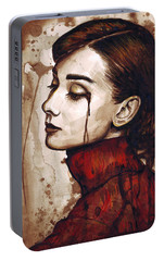 Audrey Hepburn - Quiet Sadness Portable Battery Charger by Olga Shvartsur