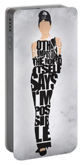 Audrey Hepburn Typography Poster Portable Battery Charger by Ayse Deniz