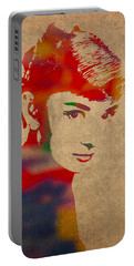 Audrey Hepburn Watercolor Portrait On Worn Distressed Canvas Portable Battery Charger