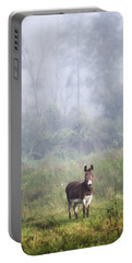 Portable Battery Charger featuring the photograph August Morning - Donkey In The Field. by Gary Heller