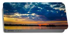 August Sunset Over Lake Nagawicka Portable Battery Charger