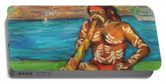 Portable Battery Charger featuring the painting Aussie Dream I by Xueling Zou