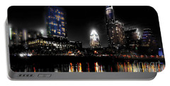 Austin Night Skyline Reflections  Portable Battery Charger