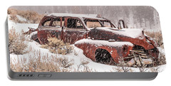 Auto In Snowstorm Portable Battery Charger by Sue Smith