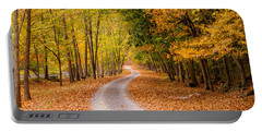 Autum Path Portable Battery Charger by Melinda Ledsome