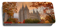 Autumn At Temple Square Portable Battery Charger by Dustin  LeFevre
