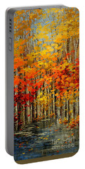 Portable Battery Charger featuring the painting Autumn Banners by Tatiana Iliina
