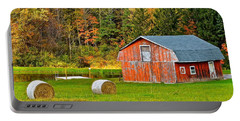 Autumn Barn And Bales Of Hay Portable Battery Charger