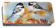Autumn Chickadees Portable Battery Charger by Inese Poga