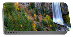 Autumn Colors Surround Tumalo Falls Portable Battery Charger by Kevin Desrosiers