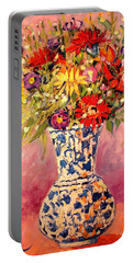 Portable Battery Charger featuring the painting Autumn Flowers by Ana Maria Edulescu