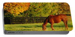 Autumn Grazing Portable Battery Charger by James Kirkikis