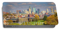 Autumn In Kansas City With Logo Portable Battery Charger