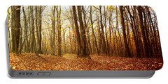 Autumn In The Forest With Red And Yellow Leaves Portable Battery Charger