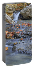Autumn Leaves At Little Missouri Falls - Arkansas - Waterfall Portable Battery Charger by Jason Politte