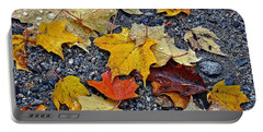 Autumn Leaves In Rain Portable Battery Charger