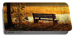 Autumn Morning At The Lake Portable Battery Charger