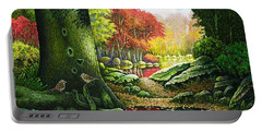 Autumn Morning In The Forest Portable Battery Charger