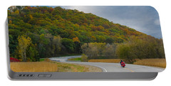 Autumn Motorcycle Rider / Orange Portable Battery Charger by Patti Deters