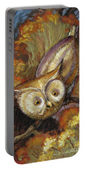 Portable Battery Charger featuring the painting Autumn Owl by Randy Wollenmann