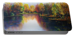 Portable Battery Charger featuring the painting Autumn Reflections  by Vesna Martinjak