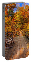 Autumn Rocking On Wooden Bridge Landscape Print Portable Battery Charger