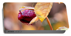 Autumn Rosebud Portable Battery Charger by Rona Black